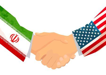 USA and IRAN handshake, concept illustration isolated on white