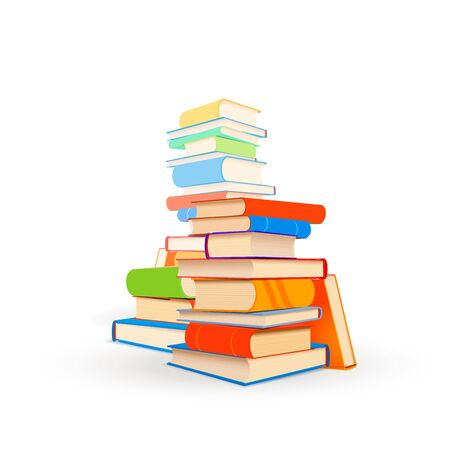 Several stacks of different textbooks isolated on white