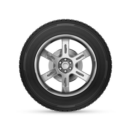Detailed realistic car wheel isolated on white