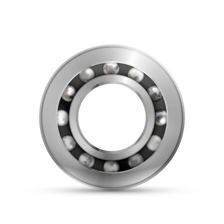 Realistic glossy bearing, detailed mechanism on white