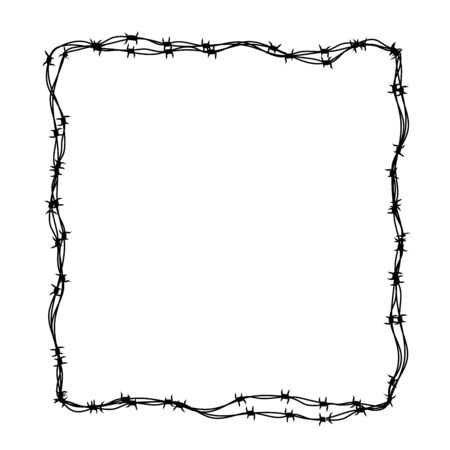 Barbed wire frame in square shape on white Vector Illustration