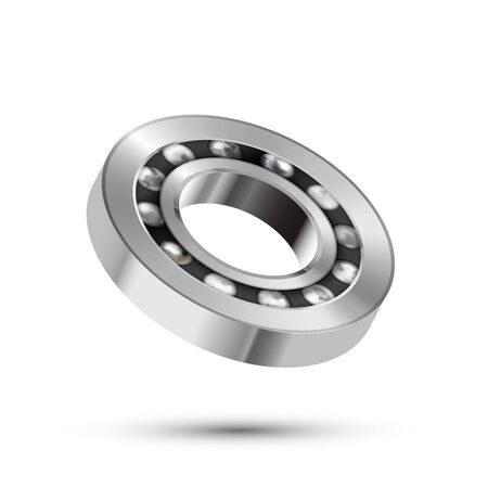 Realistic glossy 3d bearing, detailed mechanism on white