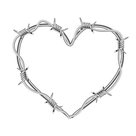 Realistic glossy barbed wire in heart shape isolated on white