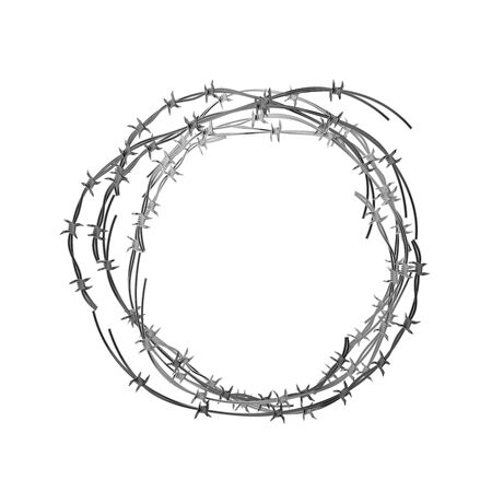 Glossy realistic hank of metal barbed wire on white