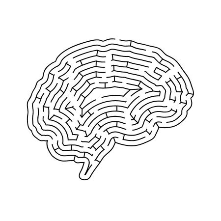 Brain shaped complicated maze, black silhouette isolated on white