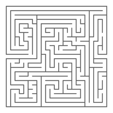 Square shaped maze, black silhouette on white