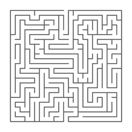 Square shaped complicated maze, black silhouette on white
