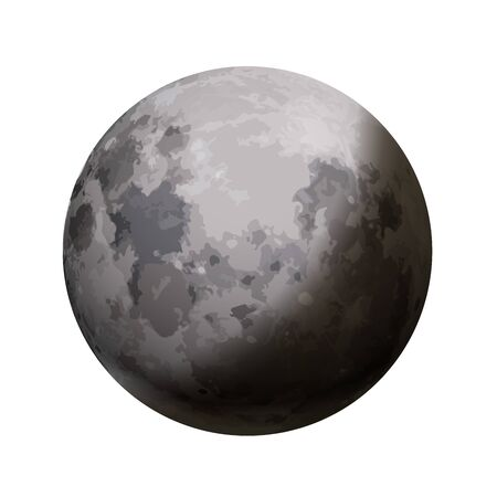 Bright realistic moon with shadow on white  イラスト・ベクター素材