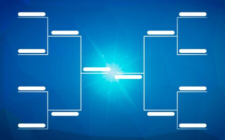 Tournament bracket template for 8 teams on bright blue background