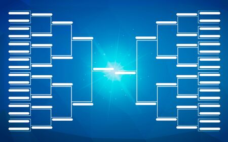 Tournament bracket template for 32 teams on blue background