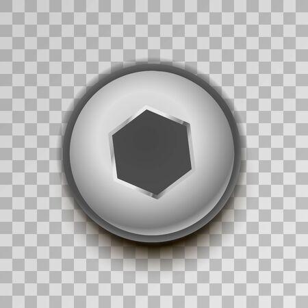 Realistic metal hexagon screw on transparent background Illustration
