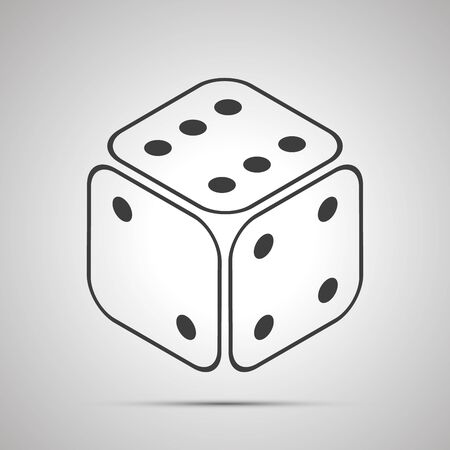 Casino dice in isometric view simple black icon on gray
