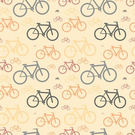 A lot of classic bicycles, vintage seamless pattern