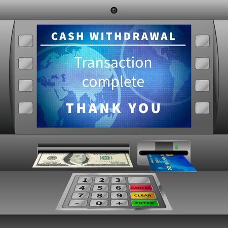 ATM machine with cash withdrawal operation