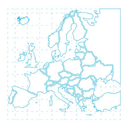 Blue contour of detailed europe map on white Иллюстрация