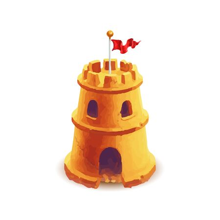 Bright cute sand castle with red flag on white Ilustracja