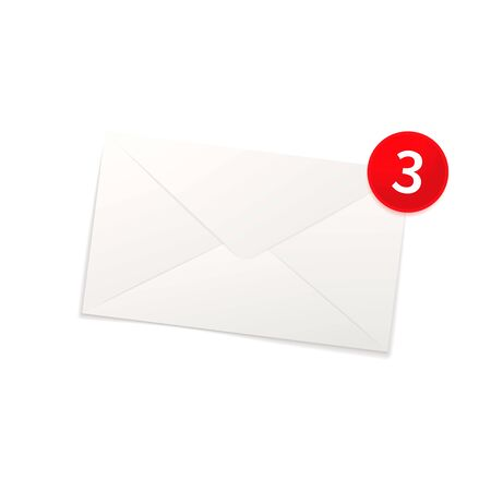 Glossy new mail notification icon, bright envelope isolated on white Illusztráció