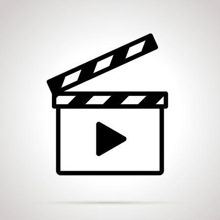 Movie clap, simple black on gray Illustration