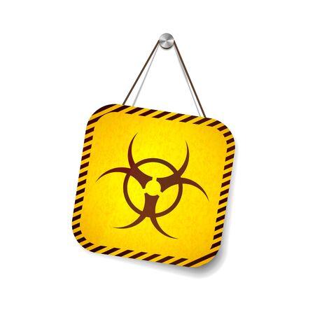 Bio hazard grunge warning sign hanging on the rope on white