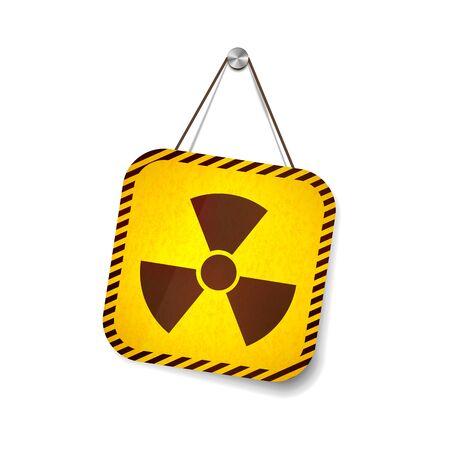 Radiation grunge warning sign hanging on the rope on white 向量圖像