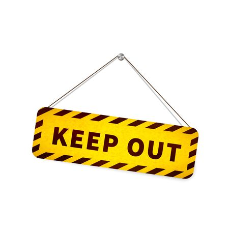 Yellow grunge keep out sign hanging on the rope isolated on white Ilustracja
