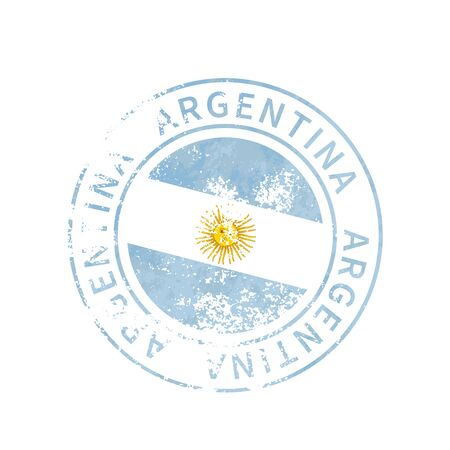 Argentina sign, vintage grunge imprint with flag on white