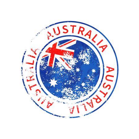 Australia sign, vintage grunge imprint with flag isolated on white Иллюстрация