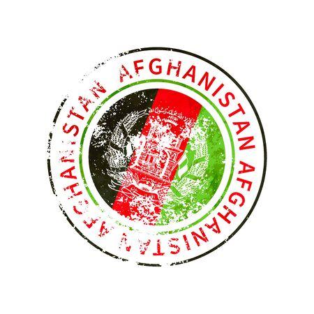 Afghanistan sign, vintage grunge imprint with flag on white