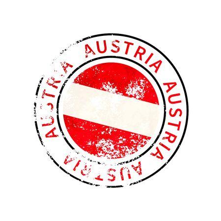 Austria sign, vintage grunge imprint with flag on white