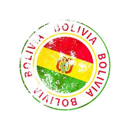Bolivia sign, vintage grunge imprint with flag on white