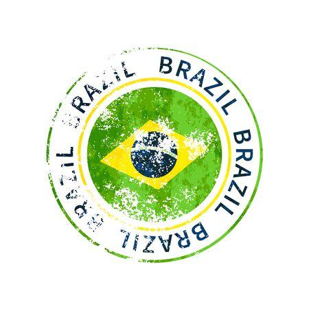 Brazil sign, vintage grunge imprint with flag on white