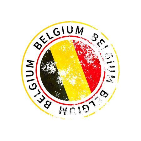 Belgium sign, vintage grunge imprint with flag on white