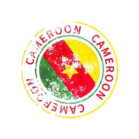 Cameroon sign, vintage grunge imprint with flag on white