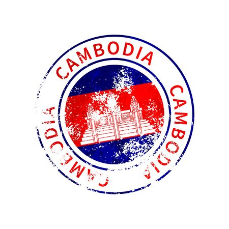 Cambodia sign, vintage grunge imprint with flag isolated on white