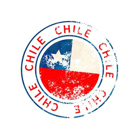 Chile sign, vintage grunge imprint with flag isolated on white 向量圖像