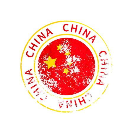China sign, vintage grunge imprint with flag isolated on white