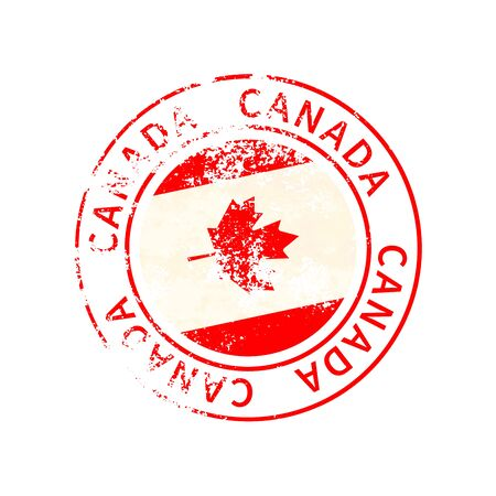 Canada sign, vintage grunge imprint with flag isolated on white