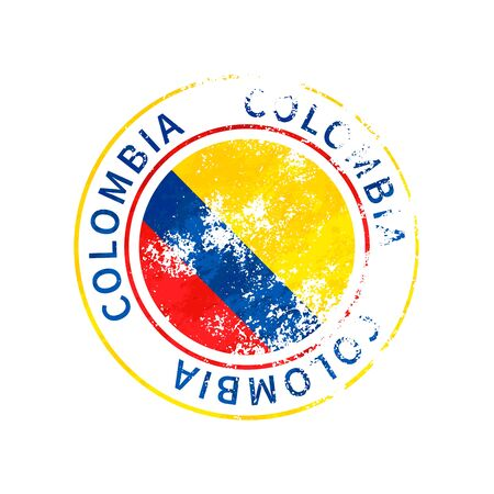 Colombia sign, vintage grunge imprint with flag isolated on white