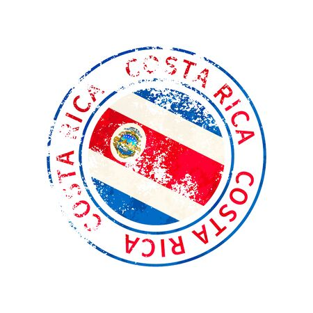 Costa rica sign, vintage grunge imprint with flag isolated on white 向量圖像