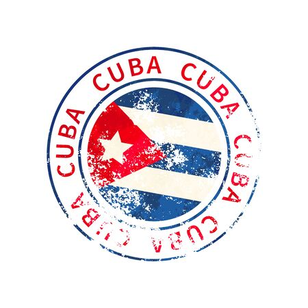 Cuba sign, vintage grunge imprint with flag isolated on white