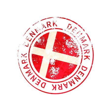 Denmark sign, vintage grunge imprint with flag isolated on white 向量圖像