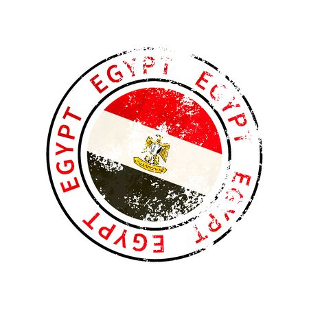 Egypt sign, vintage grunge imprint with flag isolated on white