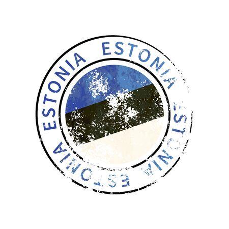 Estonia sign, vintage grunge imprint with flag isolated on white