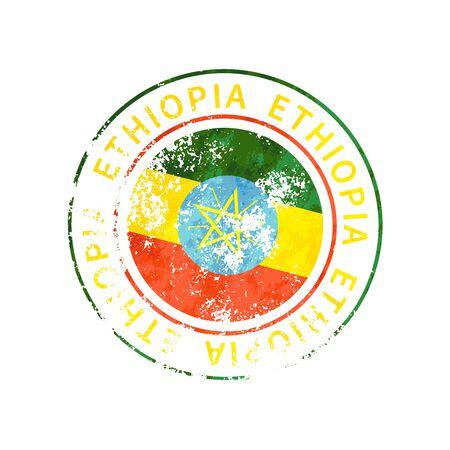 Ethiopia sign, vintage grunge imprint with flag isolated on white 向量圖像