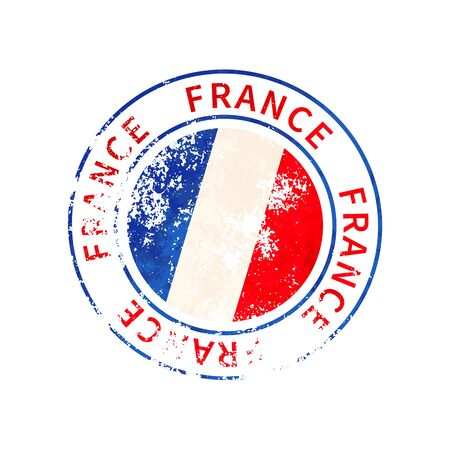 France sign, vintage grunge imprint with flag isolated on white 向量圖像