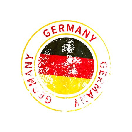 Germany sign, vintage grunge imprint with flag isolated on white