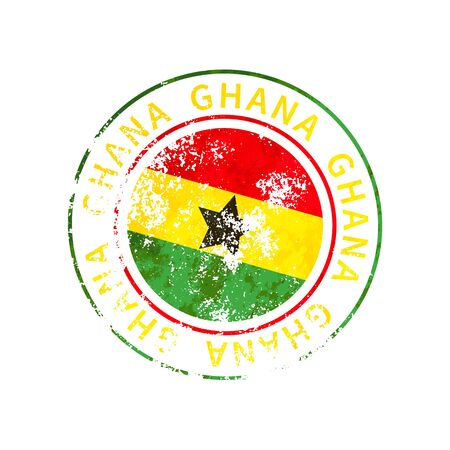 Ghana sign, vintage grunge imprint with flag isolated on white