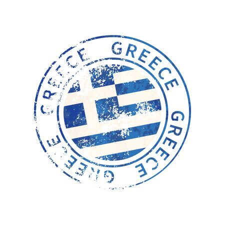 Greece sign, vintage grunge imprint with flag isolated on white