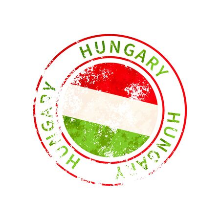 Hungary sign, vintage grunge imprint with flag isolated on white