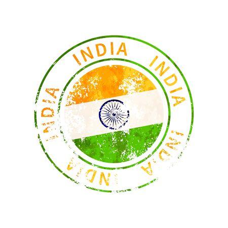 India sign, vintage grunge imprint with flag isolated on white Illustration